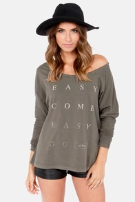 RVCA Easy Go Long Sleeve Washed Grey Top