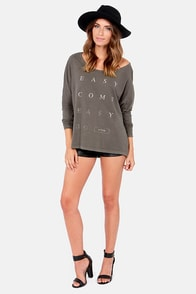 RVCA Easy Go Long Sleeve Washed Grey Top at Lulus.com!