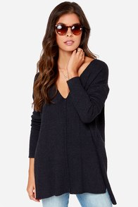 All Together Now Navy Blue Sweater at Lulus.com!