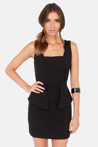 Flare Necessities Black Peplum Dress at Lulus.com!