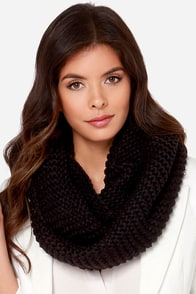 Be Fore-Warmed Black Knit Infinity Scarf at Lulus.com!