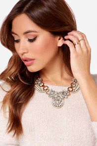 Get Your Shine On Gold Rhinestone Statement Necklace at Lulus.com!