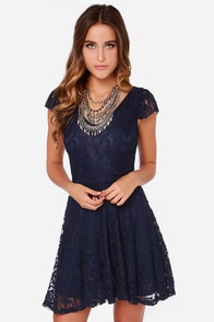 LULUS Exclusive Made to Love Navy Blue Lace Dress at Lulus.com!