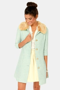 Jackie Oh So Lovely Fur Trimmed Blue Coat at Lulus.com!