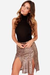 Penny Arcade Bronze Sequin Skirt at Lulus.com!