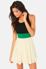 Block to the Future Black, Cream, and Green Dress at Lulus.com!