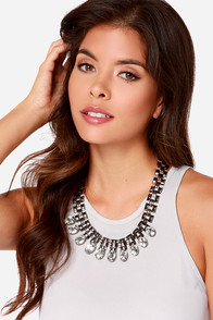 Material World Gunmetal Rhinestone Statement Necklace at Lulus.com!