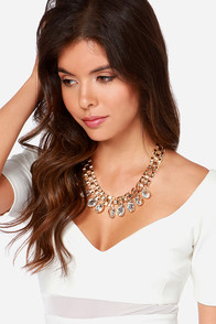 Material World Gold Rhinestone Statement Necklace at Lulus.com!
