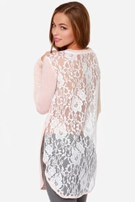 Deep Lace Nine Long Sleeve Lace Peach Top at Lulus.com!