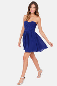 LULUS Exclusive Sash Flow Strapless Royal Blue Dress at Lulus.com!