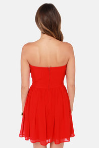 LULUS Exclusive Sash Flow Strapless Red Dress at Lulus.com!
