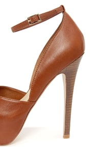 Steve Madden Deeny Cognac Leather D'Orsay Platform Pumps at Lulus.com!