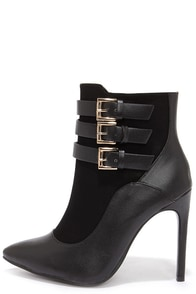 Buckle Up Black Pointed Toe Booties at Lulus.com!