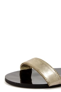 Bamboo Funn 01 Gold Flat Ankle Strap Sandals at Lulus.com!