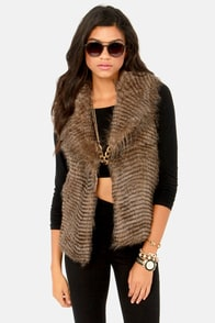 BB Dakota by Jack Davorah Taupe Faux Fur Vest