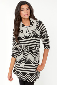 BB Dakota by Jack Emilia Black and Ivory Print Coat at Lulus.com!