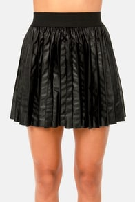 Costa Blanca Pleat-sa Delivery Black Vegan Leather Skirt at Lulus.com!