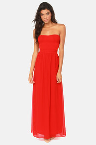 Life of Tie Red Strapless Maxi Dress at Lulus.com!