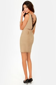 Trim and Proper Beige Lace Dress at Lulus.com!