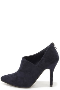 All I Want Navy Blue Suede Pointed Toe D'Orsay Booties at Lulus.com!