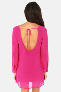 Catch My Shift Backless Fuchsia Shift Dress at Lulus.com!
