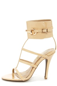 Anne Michelle Enzo 39 Nude Glitter Ankle Cuff Dress Sandals at Lulus.com!