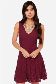 LULUS Exclusive Fine and Dainty Sleeveless Burgundy Lace Dress at Lulus.com!
