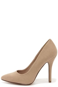 Step It Up Light Taupe Suede Pointed Pumps at Lulus.com!