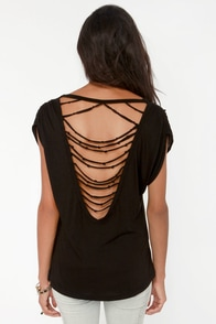 Shred of the Class Strappy Black Tee at Lulus.com!