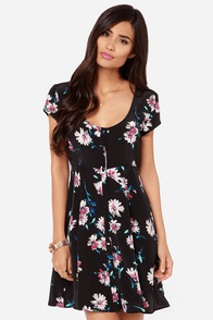 O'Neill Betty Black Floral Print Dress at Lulus.com!
