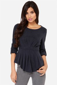 She's Super Chic-y Washed Blue Grey Top at Lulus.com!