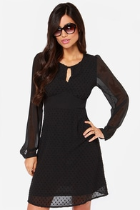Proliv Black Long Sleeve Polka Dot Dress at Lulus.com!