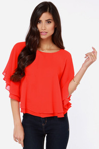 Havana Nights Red Orange Top at Lulus.com!