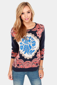 Never Been Better Navy Blue Print Sweater at Lulus.com!