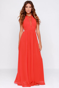 Bariano Francesca Coral Red Lace Maxi Dress at Lulus.com!