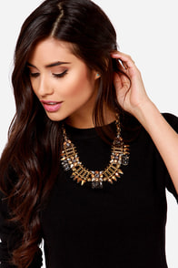 Bowser's Castle Gold Rhinestone Statement Necklace at Lulus.com!