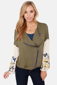 What Sews Around Embroidered Olive Green Jacket at Lulus.com!