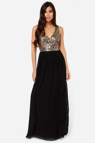 LULUS Exclusive Maximum Shine Black and Gold Sequin Maxi Dress at Lulus.com!