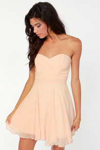 TFNC Minnie Strapless Peach Dress at Lulus.com!