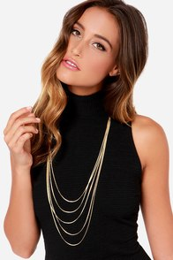 Five by Five Gold Layered Necklace at Lulus.com!