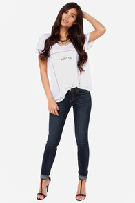Dittos Selena Dark Wash Mid Rise Super Skinny Ankle Jeans at Lulus.com!