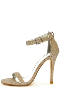 My Delicious Chacha Rose Gold Shimmer Single Strap High Heels at Lulus.com!