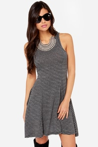 Roxy Swing Low Grey Striped Dress at Lulus.com!