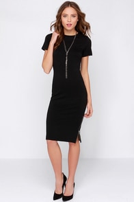 Perfect Relation-Zip Short Sleeve Black Midi Dress at Lulus.com!