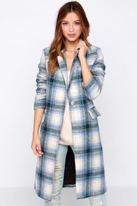 By and Large Oversized Blue Plaid Coat at Lulus.com!