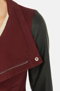 Together For-Leather Black and Burgundy Jacket at Lulus.com!