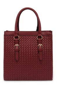 Weave Me Be Burgundy Tote at Lulus.com!
