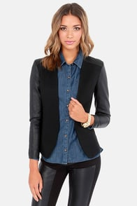 We Won't Stop Black Vegan Leather Blazer