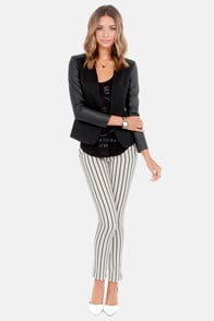 Volcom Frochickie Black and Ivory Striped Pants at Lulus.com!