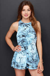 Keepsake Better Off Alone Light Blue Print Romper at Lulus.com!